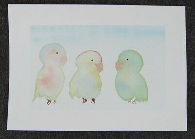 3 BIRDIES watercolour PAINT art HAPPY pastel HAND painted CARD hobby CRAFT H2O