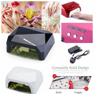 36W LED Light UV Lamp Nail Dryer Art Gel Curing Gelish Timer Acrylic Polish