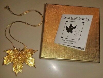 Real Leaf Jewelry Maple Dipped In 24K Gold Pendant/necklace/brooch Gift Box