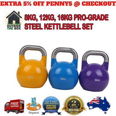 8KG, 12KG, 16KG Pro-Grade Steel KettleBell Weight Set Home Gym Fitness Sport New