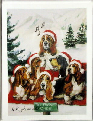 New Basset Hound Holiday Greeting Card Set 6 Note Cards  & Envelopes By Ruth