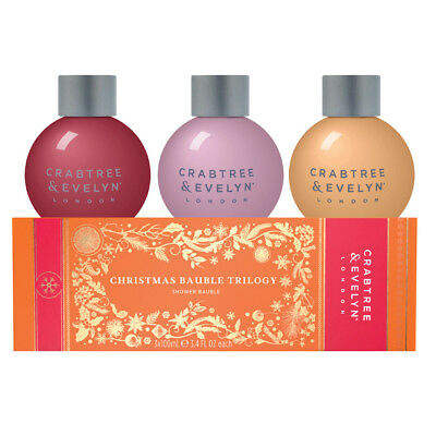 NEW Crabtree & Evelyn Christmas Bauble Trilogy 3x100ml
