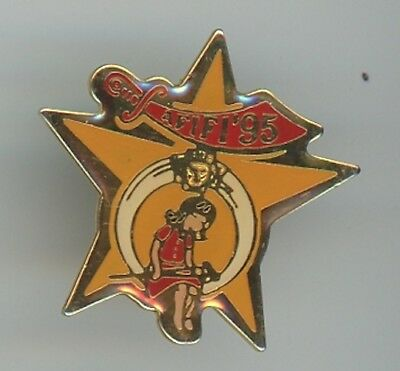 Hat or Lapel Pin - Shriners 1995 AFIFI Gold Star Red Sword Girl with Crutch D-3