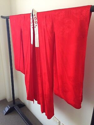 Vintage Red Silk Japanese Kimono Authentic Costume Hand Made One of a Kind