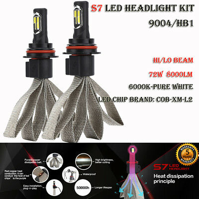 9004/HB1 S7 72W 8000LM LED Headlight Kit Bulb Hi/Lo Beam Lamp 6000K Auto Car DRL
