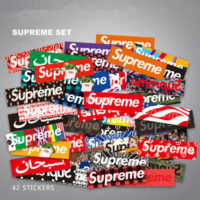 42x Supreme Box Large Decal Sticker Laptop Skateboard & Luggage Label Sticker