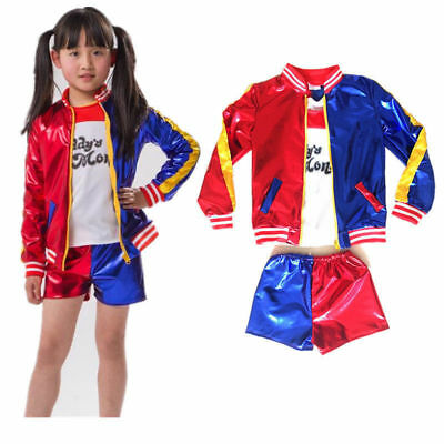 Girls Kids Costume Suicide Squad Harley Quinn Fancy Dress Cosplay Costume Outfit