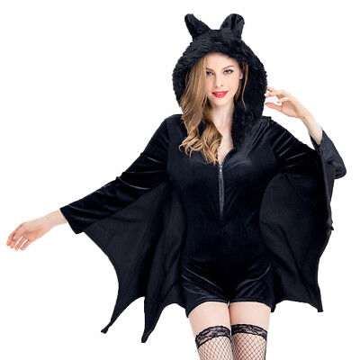 damen gothic freche fledermaus hoodie kleid halloween vampir kost m mit fl gel eur 16 98. Black Bedroom Furniture Sets. Home Design Ideas