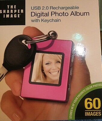 The Sharper Image digital photo album with keychain USB 2.0 rechargeable NEW