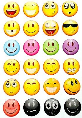 24 pcs Home Button Sticker Decals Glitter Happy Smiley Faces for iPhone