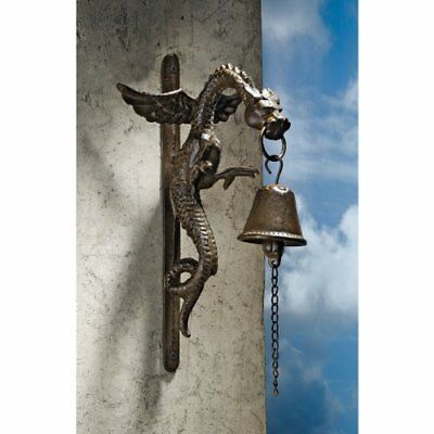 Iron Cast Decorative Door Bell Gothic Dragon Design for Home Outdoor Yard Garden