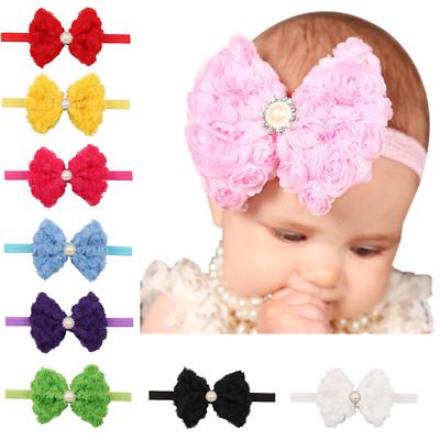 New! Baby Girls Rose Flower Bow Hairband Soft Elastic Headband Hair Accessories