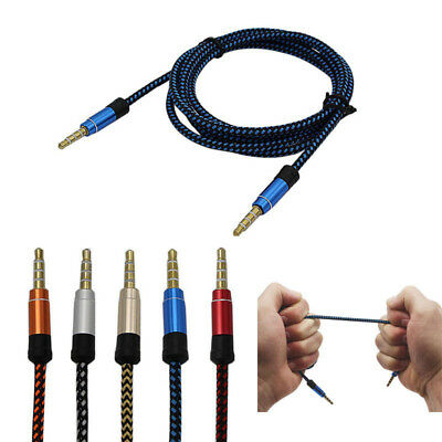 3,5mm Braided Stereo Audio AUX Klinke Kabel Stecker für Auto MP3 Handy PC 1.5M