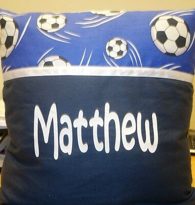 """Navy & Blue Soccer, Personalised Display Pillow/cushion, """"matthew"""", As New"""