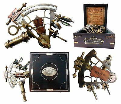 Portable Brass Ship History Sextant W/Hardwood Box Great Gift For Family Friends