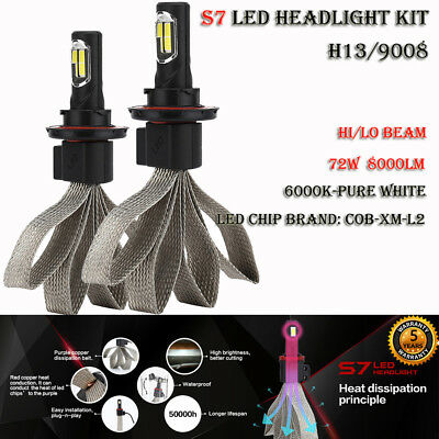 H13/9008 S7 72W 8000LM LED Headlight Kit Bulb Hi/Lo Beam Lamp 6000K Auto Car DRL