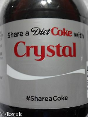 Share a DIET COKE with CRYSTAL Collectible 20 oz Bottle RARE Coca-Cola Name