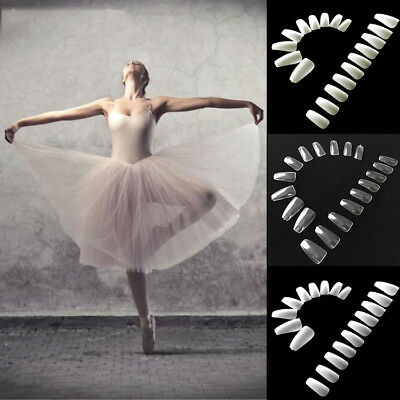 Hot! 600Pcs Coffin Ballerina Faux Fake Nails Full Cover Artificial Nail Art Tips