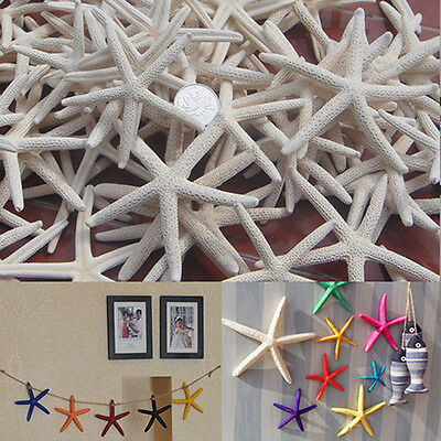KE_ 12Pcs White Finger Starfish Pointer Sea Beach Wedding Coastal Decor Craft