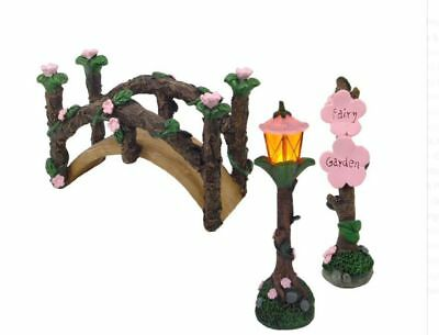 Fairy Garden Bridge Furniture set of 3 with LED light