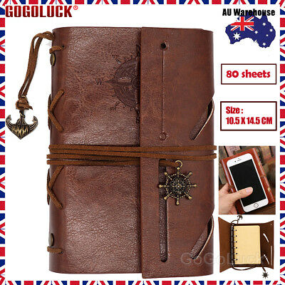 Retro Classic Brown Leather Bound Blank Pages Travel Journal Diary Notebook