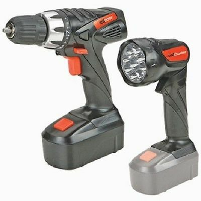 "18 Volt Cordless 3/8"" Power Drill/Driver Rechargeable Battery LED Flashlight"