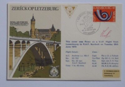RAF FDC/First Day Cover. 1973 Luxemburg to RAF Northolt. Signed by 1 Flyer.
