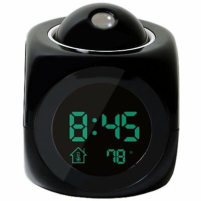 Multi-function Digital LCD Voice Talking LED Projection Alarm Clock Black B8N1
