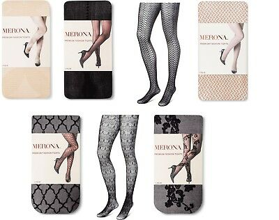 MERONA - Women's Premium Fashion Tights - Nude Or Black - Multiple Styles - NEW
