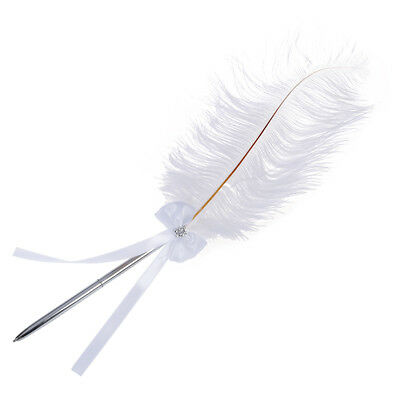 Bowknot Wedding Signing Pen White Ostrich Feather Pen with Diamante X8H5