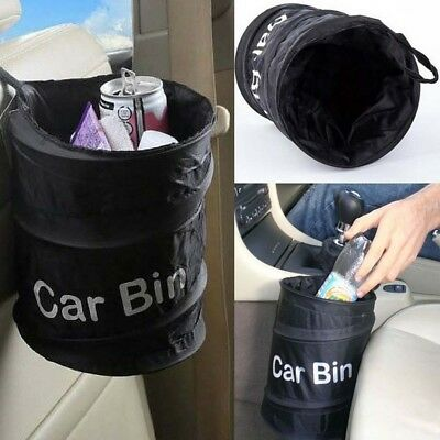 Auto Car Waste Trash Rubbish Bin Can Garbage Dust Case Hanging Holder Black New