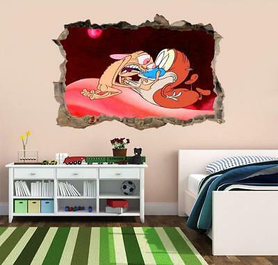 Ren And Stimpy 3D Smashed Wall Sticker Decal Home Decor Art Mural J747
