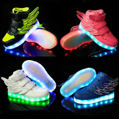 LED Shoes Kids Girls&Boys Shoes Wings Light Up Sneakers Baby Luminous Trainers