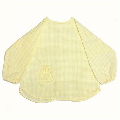 Baby Infant Waterproof Long Sleeve Apron Overall Food Catcher Bib Yellow R9X7