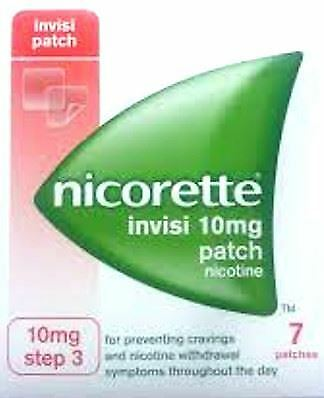 Nicorette Invisible 10mg Nicotine Patch Step THREE 7 Patches Stop Smoking Aid