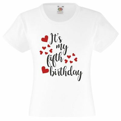 Its My Fifth Birthday 5Th Girls Fit T Shirt Tshirt Clothes Gift Idea Cake Party