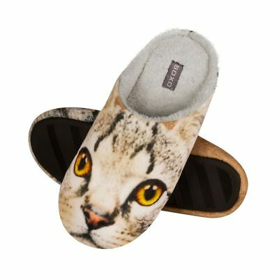 ec614b772 Ladies Cat Eyes Photo Print Soft Deluxe Beige Fleece Open Back Mule Slippers