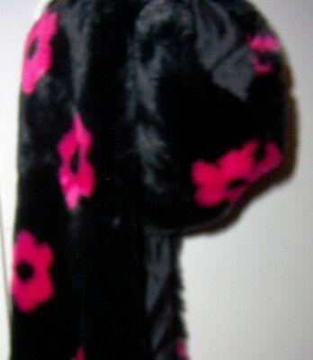 Betsey Johnson Trolls Scarf . Black & Red  # BJ45854  Red  Flowers. Free Ship.