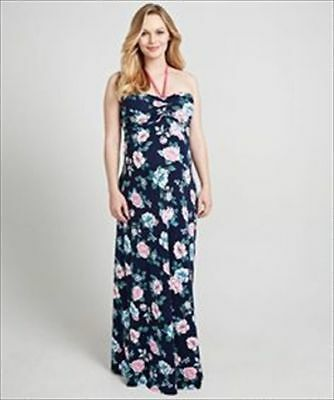 Blooming Marvellous Maxi Maternity Dress With Halterneck Size 14 Blue Floral