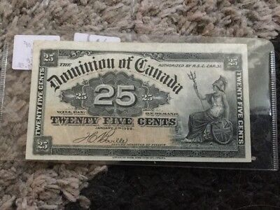 1900 The Dominion Of Canada $0.25 Banknote