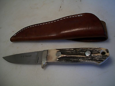 Vintage A.G.Russell Stag handle Hunting Knife ATS-34  Just a Beautiful Knife,New