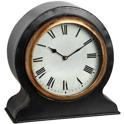 Antique Style Black Gold Table Desk Mantel Clock Roman Numerals (h18539) 37cm