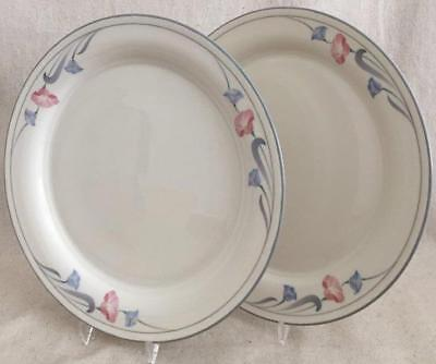 "2 Glories on Grey Lenox Chinastone Dinner Plates 10-3/4"" Pink & Blue Flowers USA"