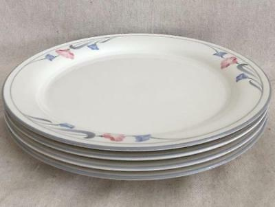 "4 Glories on Grey Lenox Chinastone Dinner Plates 10-3/4"" Pink & Blue Flowers USA"