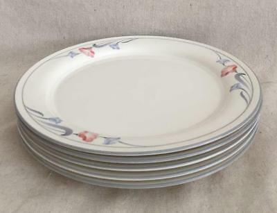 "5 Glories On Grey Lenox Chinastone Dinner Plates 10-3/4"" Pink & Blue Flowers USA"