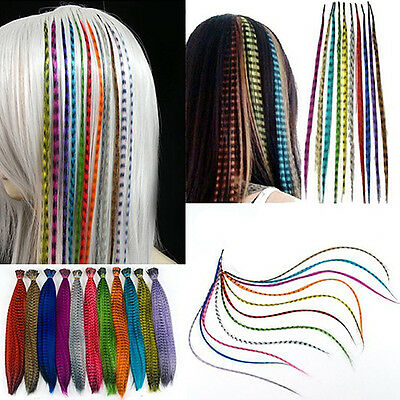 KE_ 60X Grizzly & 60X Solid Snythetic Feathers Hair Extension Beads Eager