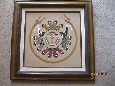 Vintage Native American Navajo Indian Sand Painting Framed 1980's ****