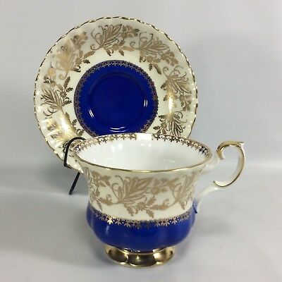 Royal Albert Tea Cup Saucer Rockingham Series Cobalt Blue Cream Gold Chintz Gilt