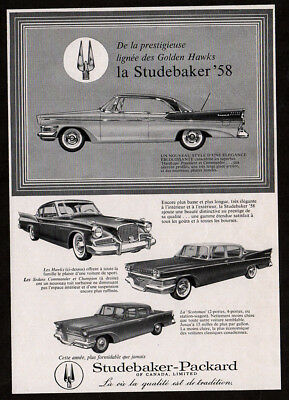 1958 STUDEBAKER Golden Hawks Vintage Original Print AD - Commander, Champion car