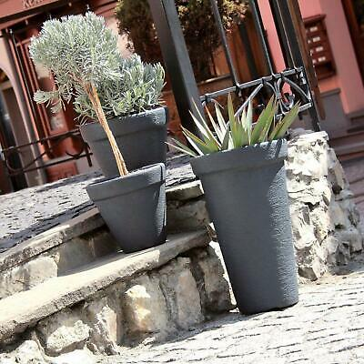 "Black 29""/74c Tall Large Massive Slim Round Elegant Tower StoneEffect Flower Pot"
